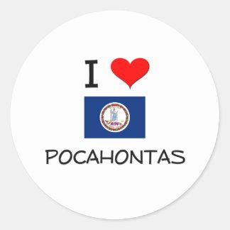 I Love Pocahontas Virginia Round Stickers