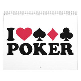 I love Poker gambling Wall Calendar