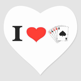 I Love Poker Heart Sticker