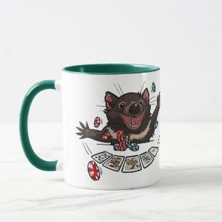 I Love Poker Tasmanian Devil Royal Flush Cartoon Mug