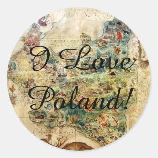 I LOVE POLAND 1939 MAP stickers