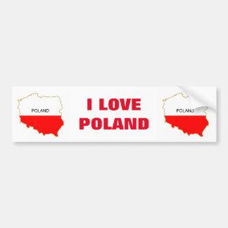 I LOVE POLAND BUMPER STICKER