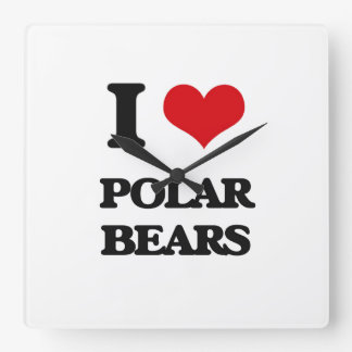 I Love Polar Bears Square Wallclocks