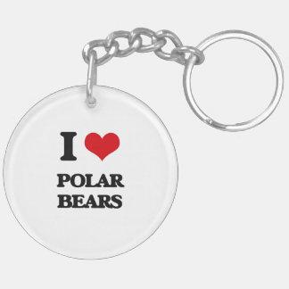 I Love Polar Bears Double-Sided Round Acrylic Keychain