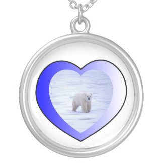 I Love Polar Bears Round Pendant Necklace