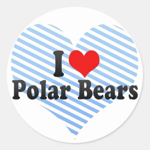 I Love Polar Bears Stickers