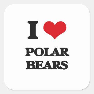 I Love Polar Bears Square Sticker