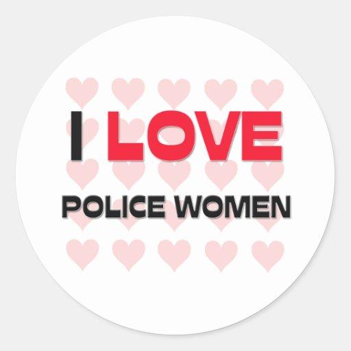 I LOVE POLICE WOMEN ROUND STICKERS