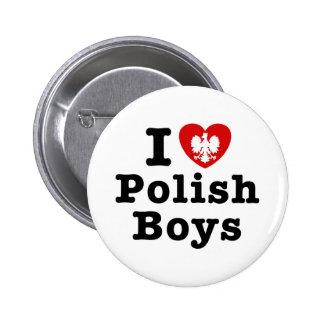 I Love Polish Boys Pinback Buttons