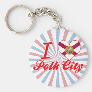 I Love Polk City, Florida Keychains