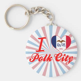 I Love Polk City, Iowa Keychain