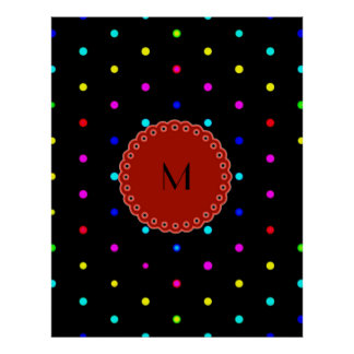 I LOVE polka dots colors on black background w/m Posters