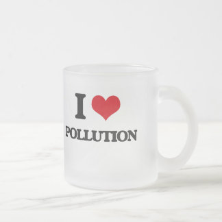 I Love Pollution Frosted Glass Mug