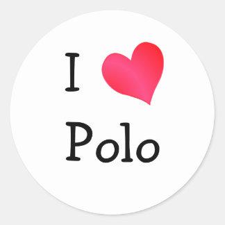 I Love Polo Round Stickers