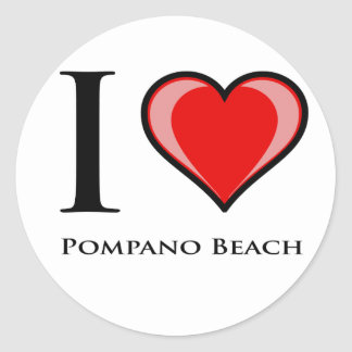 I Love Pompano Beach Round Sticker
