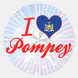 I Love Pompey, New York Round Stickers