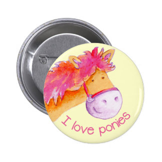 I love ponies button badge pink & yellow