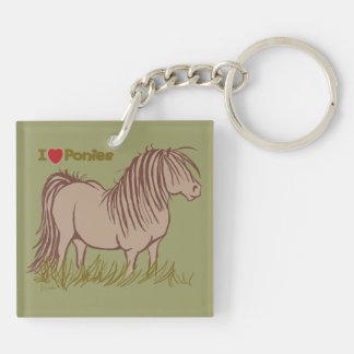 I Love Ponies Double-Sided Square Acrylic Keychain