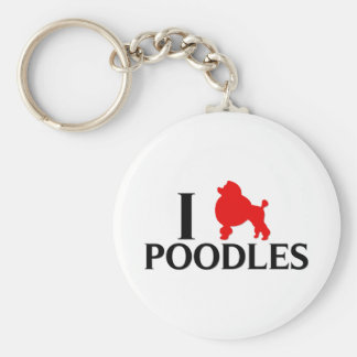 I Love Poodles Keychain