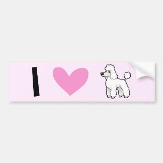 I Love Poodles (puppy cut) Bumper Stickers
