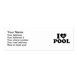 I love Pool billiards Mini Business Card