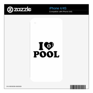 I love Pool billiards Skin For The iPhone 4