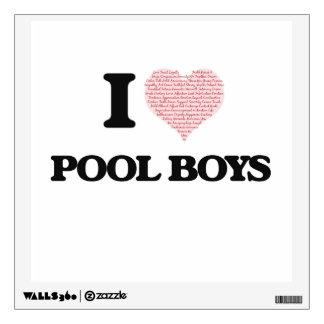 I love Pool Boys (Heart made from words) Wall Decor