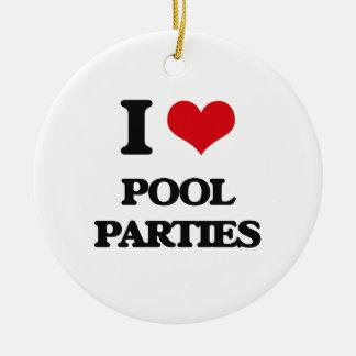 I Love Pool Parties Round Ceramic Ornament