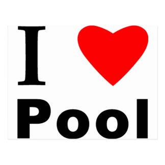 I Love Pool Postcard