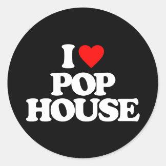 I LOVE POP HOUSE CLASSIC ROUND STICKER
