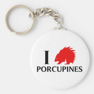 I Love Porcupines Key Chains