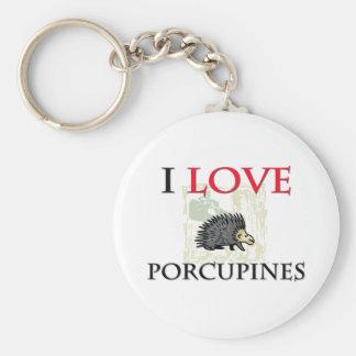 I Love Porcupines Key Chains
