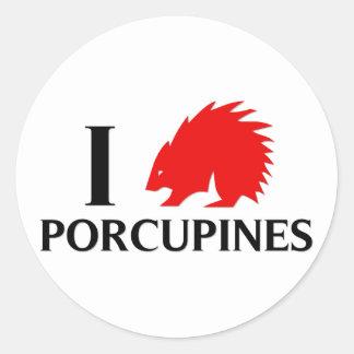 I Love Porcupines Round Stickers