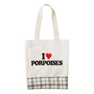 I LOVE PORPOISES ZAZZLE HEART TOTE BAG