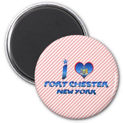 I love Port Chester, New York 2 Inch Round Magnet