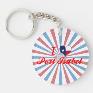 I Love Port Isabel, Texas Single-Sided Round Acrylic Keychain
