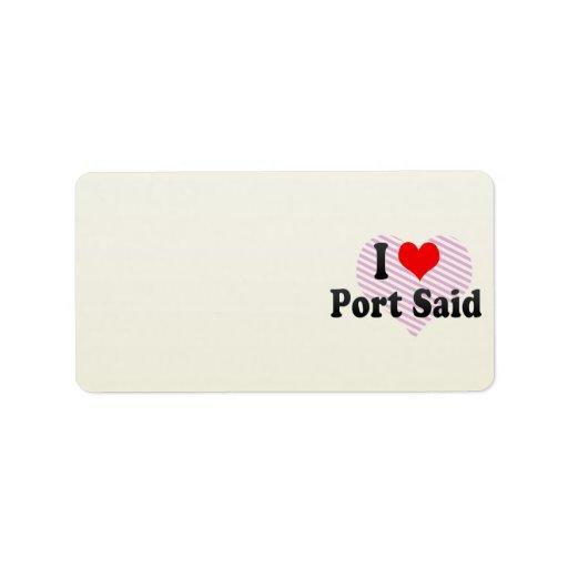 I Love Port Said, Egypt Address Label