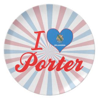 I Love Porter Oklahoma Party Plate
