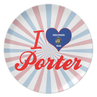 I Love Porter Wisconsin Party Plate