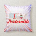 I Love Porterville, California Throw Pillows