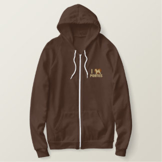 I Love Porties Embroidered Zip Hoodie