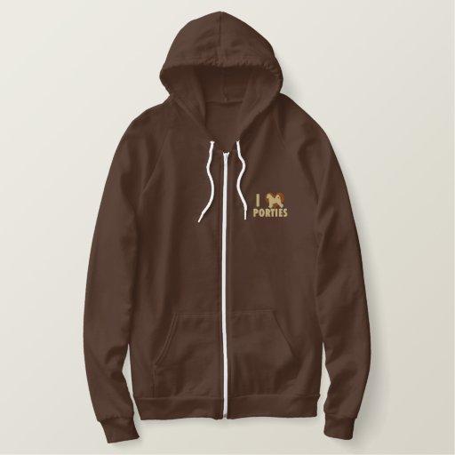 I Love Porties Embroidered Zip Hoodie