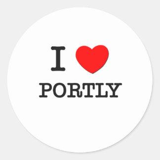 I Love Portly Round Stickers
