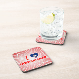 I Love Portsmouth Virginia Beverage Coasters