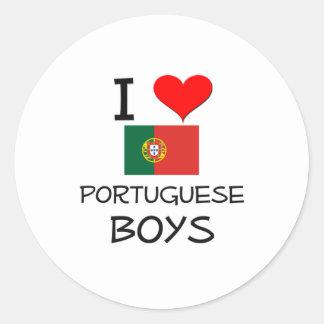 I Love Portuguese Boys Round Stickers