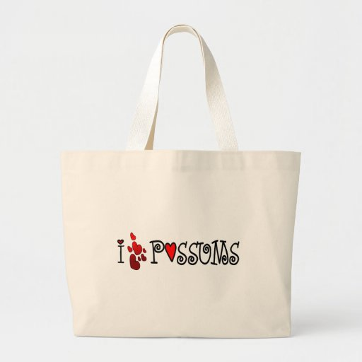 I Love Possums Hearts Tote Bags