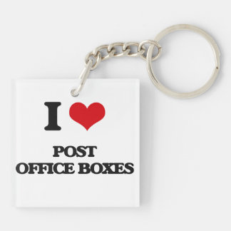 I Love Post Office Boxes Square Acrylic Keychain