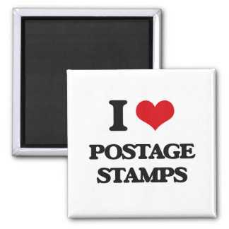 I Love Postage Stamps 2 Inch Square Magnet
