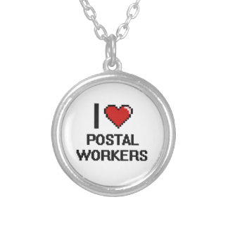 I love Postal Workers Round Pendant Necklace