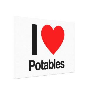 i love potables stretched canvas prints